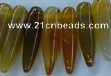 CTD2683 Top drilled 8*25mm - 10*50mm bullet agate gemstone beads