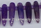 CTD2725 Top drilled 8*35mm bullet agate gemstone beads wholesale