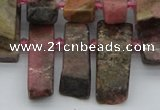CTD3502 Top drilled 10*25mm - 10*45mm sticks rhodochrosite beads