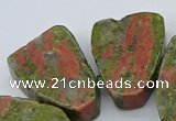 CTD3505 Top drilled 15*20mm - 25*30mm freeform unakite beads