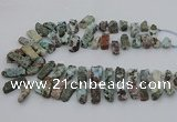 CTD3515 Top drilled 8*15mm - 12*35mm sticks larimar beads