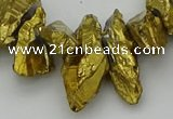 CTD3555 Top drilled 10*20mm - 12*30mm sticks plated quartz beads