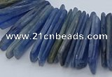 CTD3585 Top drilled 2*15mm - 5*40mm sticks blue kyanite beads