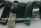 CTD370 Top drilled 10*28mm - 10*50mm wand green agate beads
