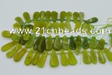 CTD3702 Top drilled 10*20mm - 15*45mm freeform Korean jade beads
