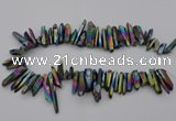 CTD382 Top drilled 5*20mm - 8*35mm sticks plated quartz beads