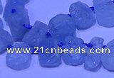 CTD3880 Top drilled 8*10mm - 10*12mm freeform aquamarine beads