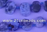 CTD3889 Top drilled 12*16mm - 13*17mm freeform larimar beads
