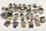 CTD3902 Top drilled 18*25mm - 22*30mm freeform druzy amethst beads