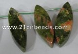 CTD42 Top drilled 10*25mm – 17*50mm marquise unakite gemstone beads