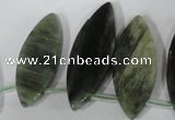 CTD44 Top drilled 10*28mm – 18*50mm marquise green hair stone beads