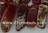 CTD461 15.5 inches 10*20mm - 12*35mm sticks red agate beads