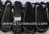 CTD470 15.5 inches 12*25mm - 15*45mm freeform black agate beads