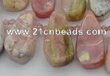 CTD486 Top drilled 10*22mm - 15*45mm freeform pink opal beads