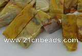 CTD499 Top drilled 10*25mm - 10*45mm sticks yellow crazy lace agate beads