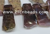 CTD568 Top drilled 15*25mm - 20*65mm freeform plated agate beads