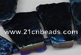 CTD579 Top drilled 20*30mm - 30*50mm freeform plated agate beads