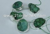 CTD771 30*35mm - 35*45mm freeform agate beads with brass setting