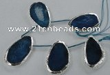 CTD775 30*45mm - 35*50mm freeform agate beads with brass setting