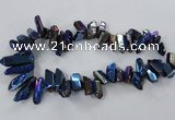 CTD779 Top drilled 8*18mm - 15*35mm nuggets plated quartz beads