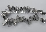 CTD781 Top drilled 8*18mm - 15*35mm nuggets plated quartz beads