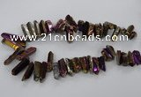 CTD786 Top drilled 8*18mm - 8*35mm nuggets plated quartz beads