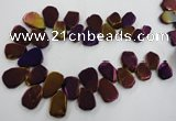 CTD906 Top drilled 15*20mm - 20*30mm freeform plated quartz beads