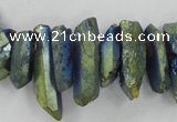 CTD914 Top drilled 5*15mm - 6*25mm wand plated quartz beads