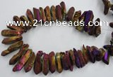 CTD925 Top drilled 15*20mm - 18*38mm wand plated quartz beads