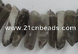 CTD927 Top drilled 6*18mm - 6*35mm wand smoky quartz beads