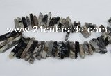 CTD964 Top drilled 8*25mm - 10*60mm sticks dyed blue lace agate beads