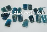 CTD967 Top drilled 22*30mm trapezoid agate gemstone beads