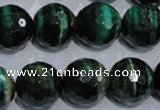 CTE1017 15.5 inches 16mm faceted round dyed green tiger eye beads
