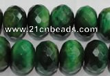 CTE1025 15.5 inches 12*16mm faceted rondelle dyed green tiger eye beads