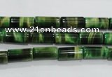 CTE1029 15.5 inches 6*12mm tube dyed green tiger eye beads wholesale