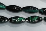 CTE1036 15.5 inches 8*18mm rice dyed green tiger eye beads