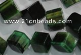 CTE1038 15.5 inches 11*11mm cube dyed green tiger eye beads