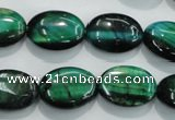 CTE1043 15.5 inches 13*18mm oval dyed green tiger eye beads