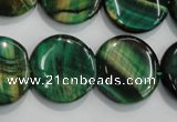 CTE1066 15.5 inches 18mm flat round dyed green tiger eye beads