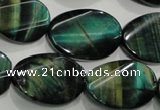 CTE1078 15.5 inches 18*25mm twisted oval dyed green tiger eye beads