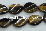 CTE109 15.5 inches 12*18mm twisted teardrop yellow tiger eye beads