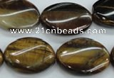CTE110 15.5 inches 18*25mm twisted oval yellow tiger eye beads