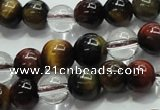 CTE1125 15 inches 6mm round mixed tiger eye & white crystal beads