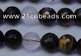 CTE1132 15 inches 8mm faceted round mixed tiger eye & white crystal beads