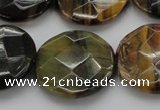CTE1357 15.5 inches 25mm faceted coin yellow & blue tiger eye beads