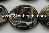CTE1358 15.5 inches 30mm faceted coin yellow & blue tiger eye beads