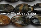 CTE1372 15.5 inches 15*20mm faceted oval yellow & blue tiger eye beads