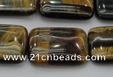 CTE1380 15.5 inches 15*20mm rectangle yellow & blue tiger eye beads