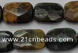 CTE1388 15.5 inches 15*20mm faceted rectangle yellow & blue tiger eye beads