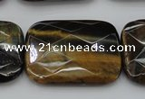 CTE1392 15.5 inches 30*40mm faceted rectangle yellow & blue tiger eye beads